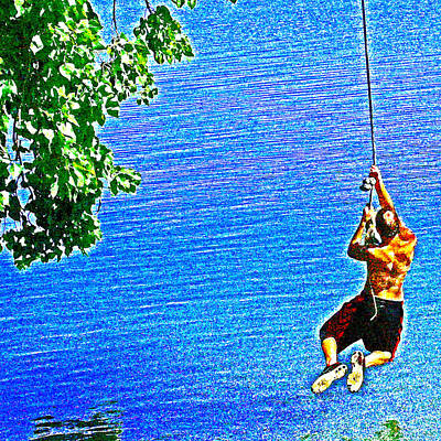 Photograph - A Delta River Rope Swing by Joseph Coulombe