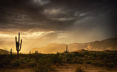 The Superstitions Photograph - A Desert Monsoon Sunset  by Saija  Lehtonen