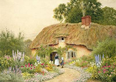 Thatched Cottage Painting - A Devon Cottage by Arthur Claude Strachan