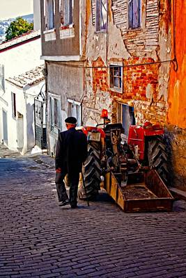 A Digitally Constructed Painting Of An Elderly Man Walking Past A Tractor In A Turkish Village Art Print