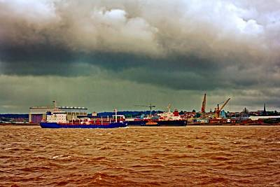 Shipping Mixed Media - A Digitally Converted Painting Of Shipping On The River Mersey In Liverpool Uk by Ken Biggs