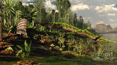 Prehistoric Digital Art - A Dimetrodon Roams The Mid-permian by Arthur Dorety