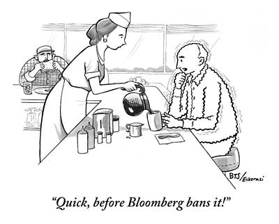 Bloomberg Drawing - A Diner Waitress Pours Coffee Into A Man's Cup by Benjamin Schwartz