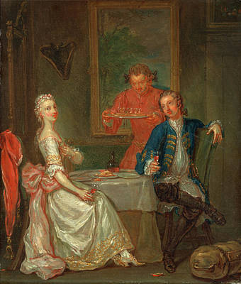 Wine Accessories Painting - A Dinner Conversation A Man And Woman Drinking At Supper An by Litz Collection