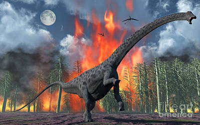 A Diplodocus Sauropod Dinosaur Fleeing Art Print by Mark Stevenson