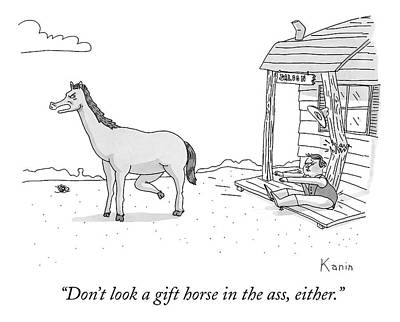 Gift Drawing - A Disgruntled Horse Has His Rear End Facing by Zachary Kanin