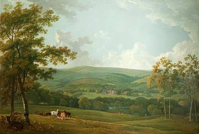 A Distant View Of Towneley Hall, C.1777 Art Print by George the Elder Barret