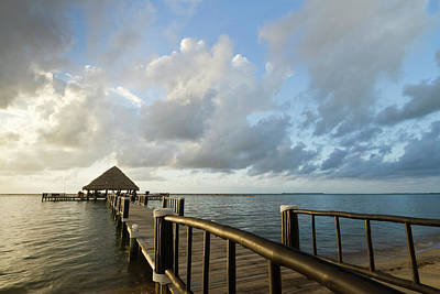 A Dock And Palapa, Placencia, Belize Art Print by William Sutton