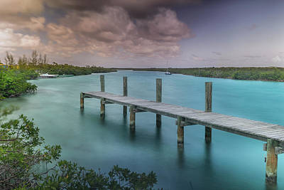 Bahamas Pier Photograph - A Dock In The Marina Off Of Cat Island by Andy Mann