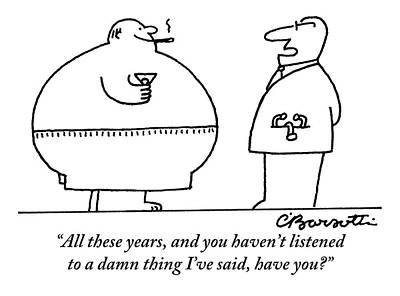 A Doctor Addresses A Fat Man Who Is Smoking Art Print by Charles Barsotti
