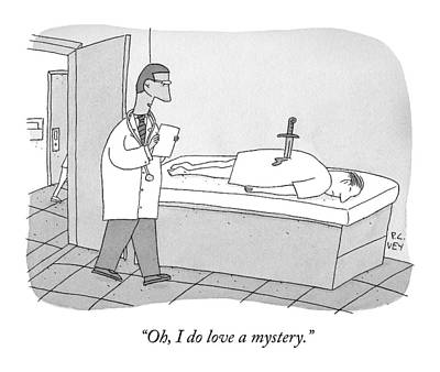 A Doctor Enters An Examination Room Where Art Print by Peter C. Vey