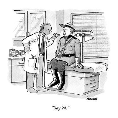 Canadian Drawing - A Doctor Inspects A Royal Canadian Mounted by Benjamin Schwartz