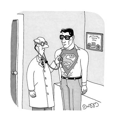 J C Duffy Drawing - A Doctor Listens To Clark Kent's Heartbeat by J.C.  Duffy