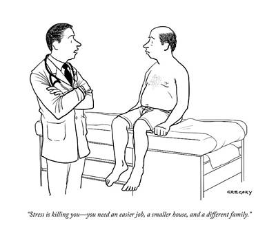 A Doctor Talks To A Male Patient Art Print by Alex Gregory