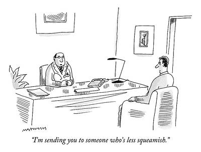Irony Drawing - A Doctor Talks To A Patient In His Office by Mick Stevens