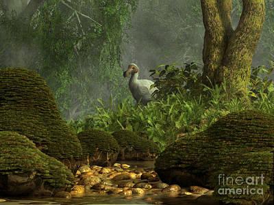 Mauritius Digital Art - A Dodo Bird Hides In A Dense Jungle by Daniel Eskridge