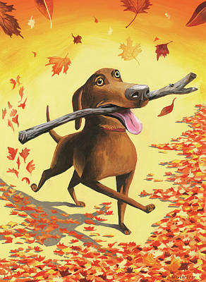 A Dog Carries A Stick Through Fall Leaves Art Print