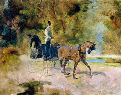 Post-impressionist Photograph - A Dog-cart, 1880 Oil On Canvas by Henri de Toulouse-Lautrec