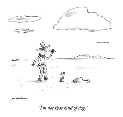 A Dog Refuses To Play Ball With A Cowboy Art Print