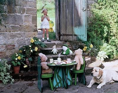 Tea Party Photograph - A Dog Sitting Next To Two Teddy Bears Having by Ernst Beadle