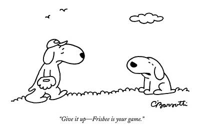 Drawing - A Dog Talks To Another Dog Wearing Baseball Gear by Charles Barsotti