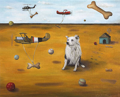Helicopter Painting - A Dogs Dream by Leah Saulnier The Painting Maniac