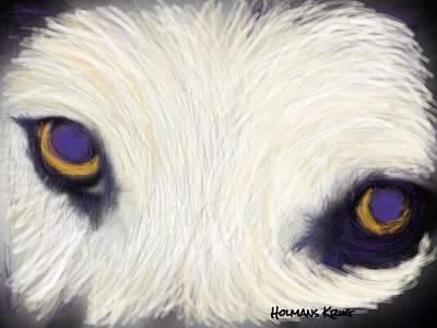 A Dog's Stare Art Print by Debbie Holmans Krug