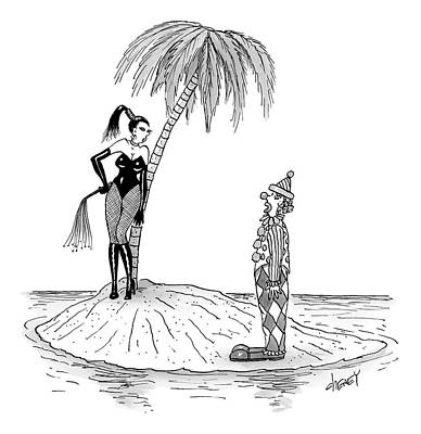 Drawing - A Dominatrix Speaks To A Clown On A Small Desert by Tom Cheney