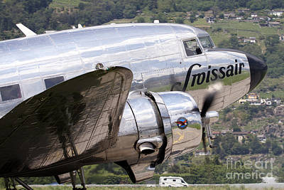 Dc-3 Plane Photograph - A Douglas Dc-3 Of Swiss International by Luca Nicolotti
