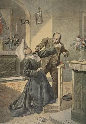 A Drama In An Asylum Assassination Art Print by French School