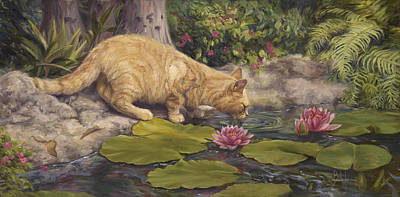 A Drink At The Pond Art Print