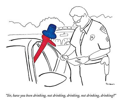 Pull Drawing - A Drinking Bird Toy Is Pulled Over By A Policeman by Michael Shaw