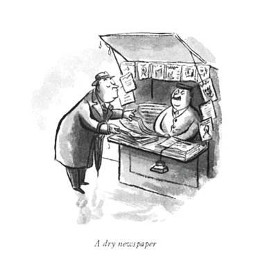 Rain Drawing - A Dry Newspaper by William Steig