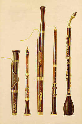 Basset Drawing - A Dulcian, An Oboe, A Bassoon by Alfred James Hipkins