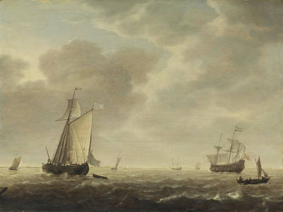 Painting - A Dutch Man-of-war And Various Vessels In A Breeze by Simon de Vlieger