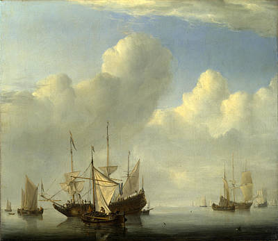 Coming Clouds Painting - A Dutch Ship Coming To Anchor by Willem van de Velde
