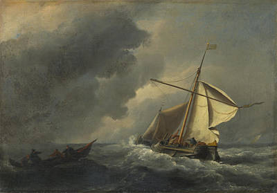 A Dutch Vessel In A Strong Breeze Art Print