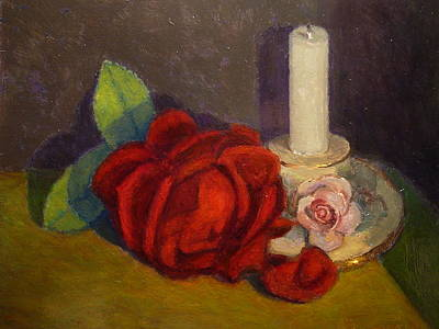 Painting - A Dying Rose by Terry Perham