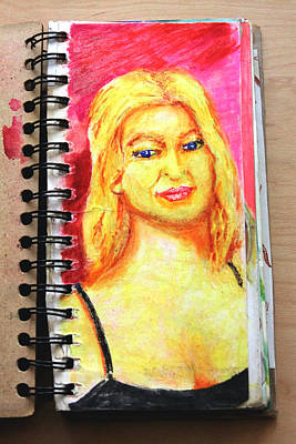 A Euro Blonde From A Sketchbook Print by Del Gaizo