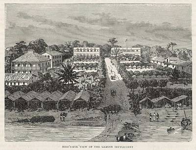 Gabon Drawing - A European Trading Settlement  In Gabon by Mary Evans Picture Library