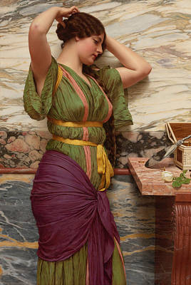 Hair Jewelry Painting - A Fair Reflection by John William Godward