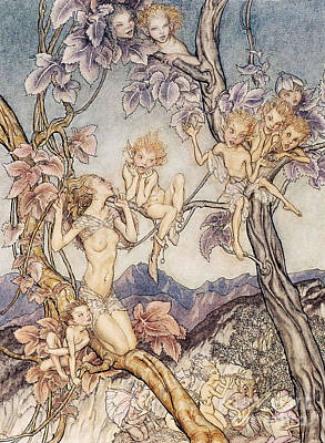 Scene Drawing - A Fairy Song From A Midsummer Nights Dream by Arthur Rackham