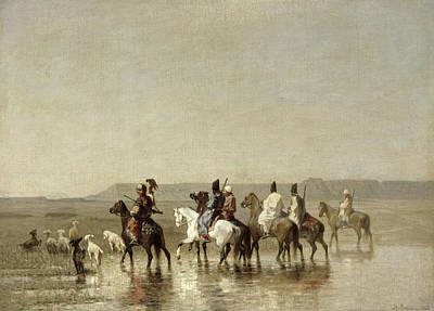 Beach Landscape Photograph - A Falcon Hunt, 1862 Oil On Canvas by Alberto Pasini