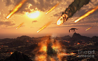 Judgment Day Digital Art - A Falling Asteroid And Meteorites Mark by Mark Stevenson