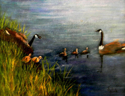 Canadian Geese Painting - A Family Excursion by Judie White