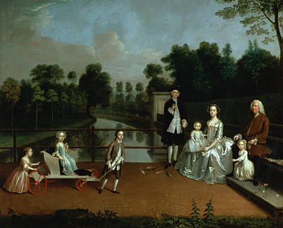 Baby Carriages Photograph - A Family Group On A Terrace In A Garden, 1749 by Arthur Devis