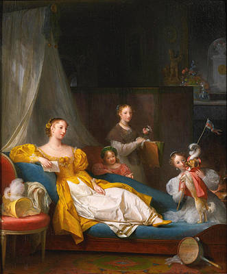 A Family In An Interior Playing With A Dog Print by Marguerite Gerard