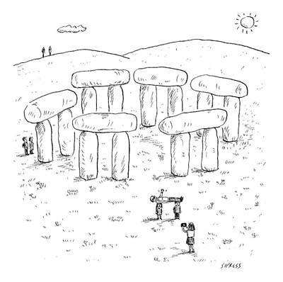 Drawing - A Family Is Visiting Stonehenge. The Mother Takes by David Sipress