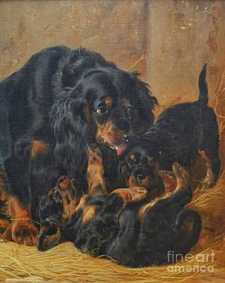 A Family Of Gordon Setters Art Print by Celestial Images