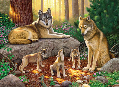 A Family Of Wolves Art Print by Chris Heitt